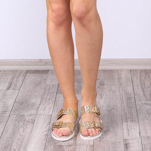 Сандалии Tosca Blu кожаные с золотистым глиттером, фото