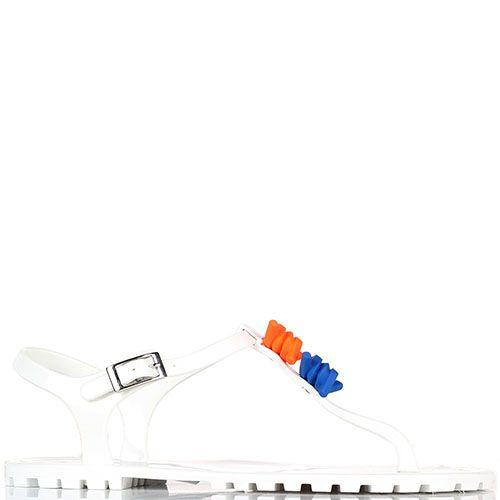 Белые силиконовые босоножки Dsquared с ярким декором, фото