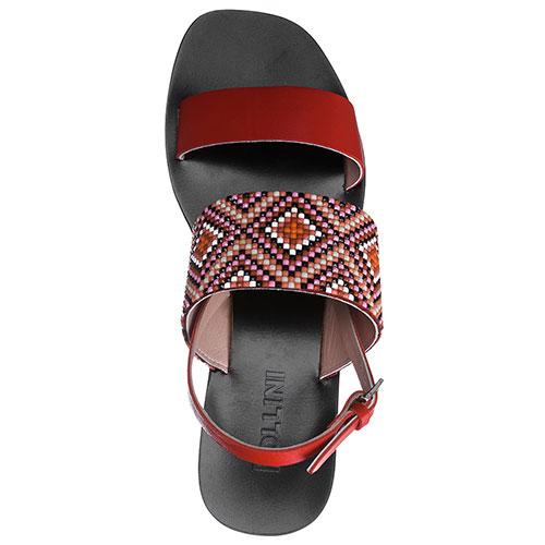 Красные сандалии Pollini с декором-бисером, фото