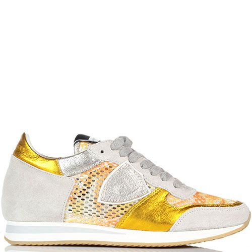 Кожаные кроссовки со вставками из сетчатого полотна Philippe Model золотистого цвета, фото