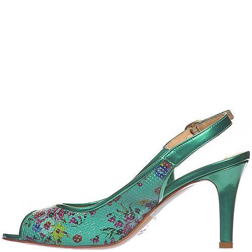 Босоножки Marino Fabiani изумрудного цвета на среднем каблуке, фото