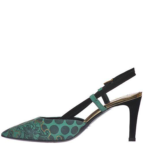 Босоножки Marino Fabiani изумрудного цвета с закрытым носочком, фото