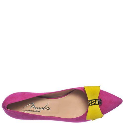 Замшевые туфли Marino Fabiani цвета фуксии с желтым бантом, фото