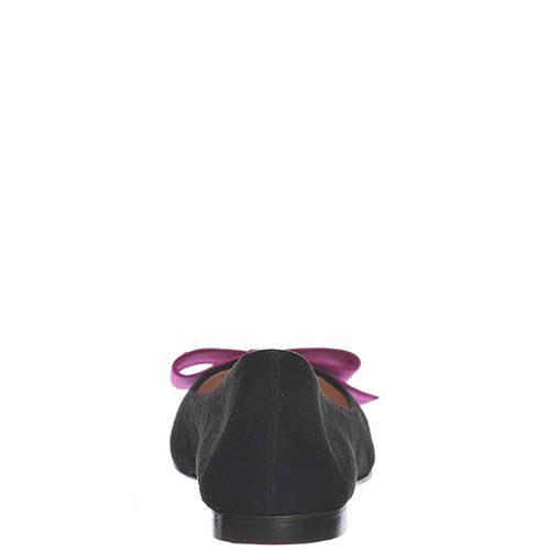 Замшевые балетки Marino Fabiani черного цвета с бантом цвета фуксии, фото