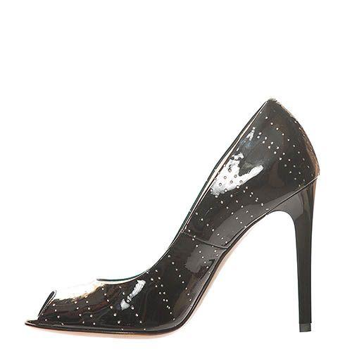 Туфли Marino Fabiani из натуральной кожи лаковые черного цвета с открытым носочком, фото