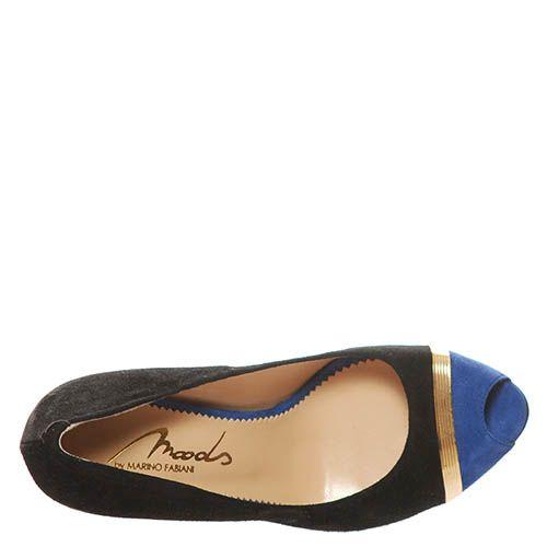 Туфли Marino Fabiani из натуральной кожи черно-синие с открытым носочком, фото