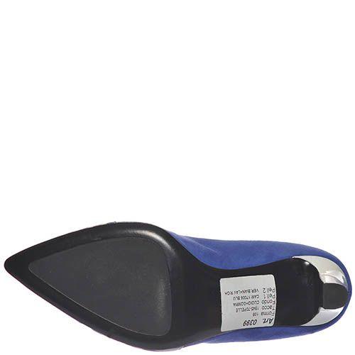 Кожаные туфли Marino Fabiani синего цвета с полосатым носочком, фото