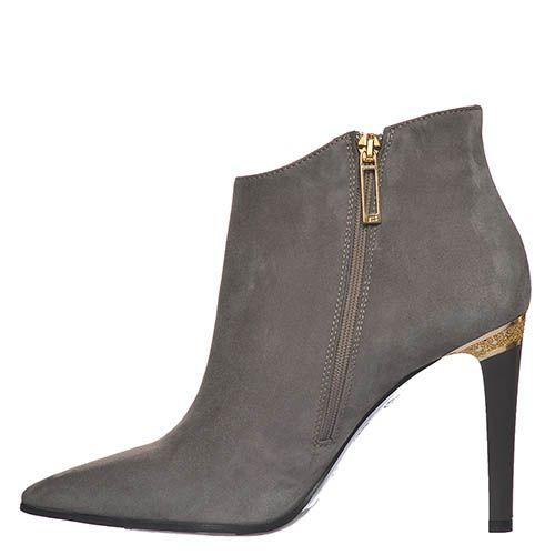 Замшевые ботинки Marino Fabiani серого цвета на высоком каблуке, фото