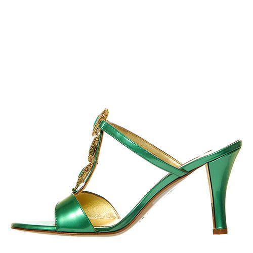 Мюли Marino Fabiani из кожи лаковые зеленого цвета, фото