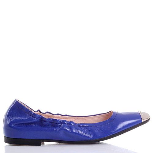 Синие кожаные балетки Bally с мягкой пяточкой и металлическим носочком, фото