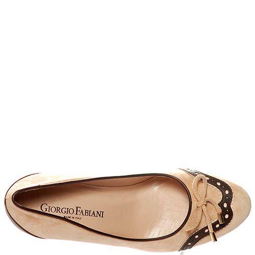 Замшевые туфли Giorgio Fabiani бежевого цвета со вставками из коричневой кожи, фото