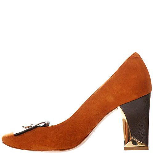 Замшевые туфли Giorgio Fabiani коричневого цвета на золотистом фигурном каблуке, фото