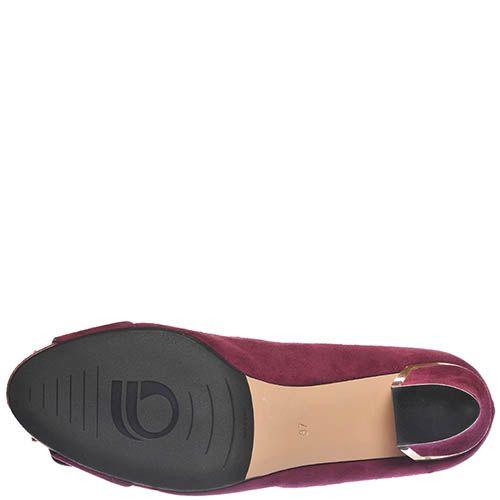 Замшевые туфли Giorgio Fabiani цвета марсала с крупной пряжкой на носочке, фото
