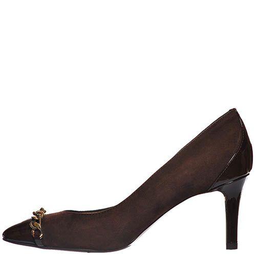 Замшевые туфли Giorgio Fabiani шоколадного цвета с лаковым носочком, фото