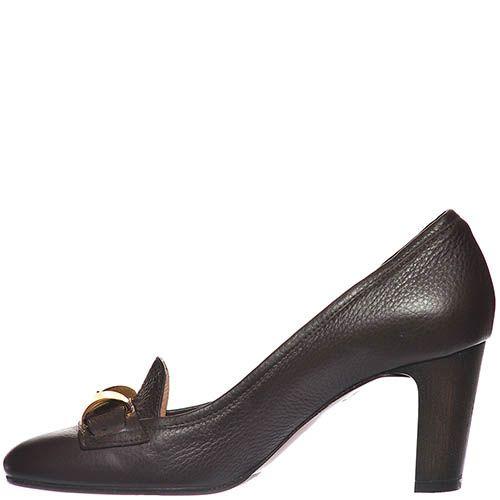 Туфли Giorgio Fabiani из крупнозернистой кожи темно-коричневого цвета, фото