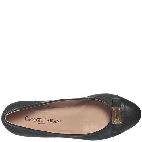 Замшевые туфли Giorgio Fabiani темно-зеленого цвета с отделкой из черной крупнозернистой кожи, фото