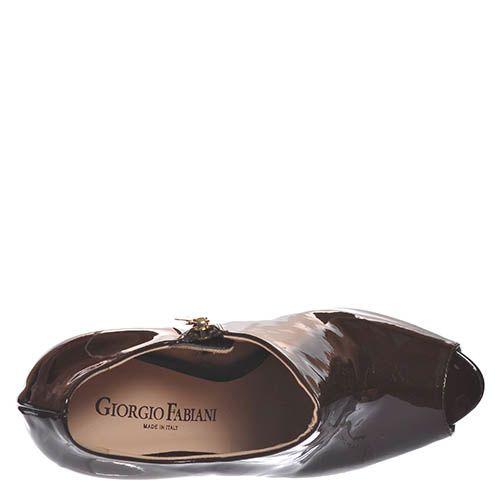 Ботильоны Giorgio Fabiani из лаковой кожи коричневого цвета, фото