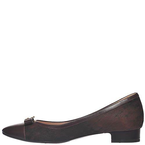 Замшевые туфли Giorgio Fabiani коричневого цвета и кожаным бантиком, фото