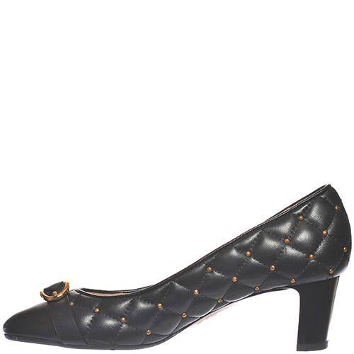 Стеганные туфли Giorgio Fabiani из кожи черного цвета с золотистыми заклепками, фото