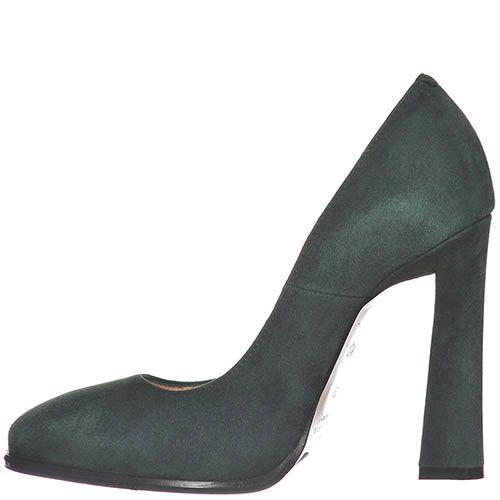 Замшевые туфли Giorgio Fabiani темно-изумрудного цвета на высоком каблуке, фото