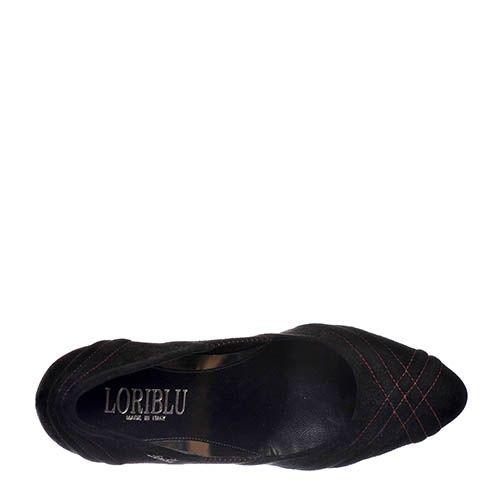 Замшевые туфли Loriblu черного цвета на каблуке, фото