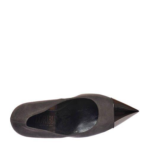 Замшевые туфли Loriblu серого цвета с золотистым носочком, фото