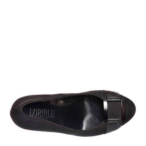 Замшевые туфли Loriblu темно-серые на высоком каблуке, фото