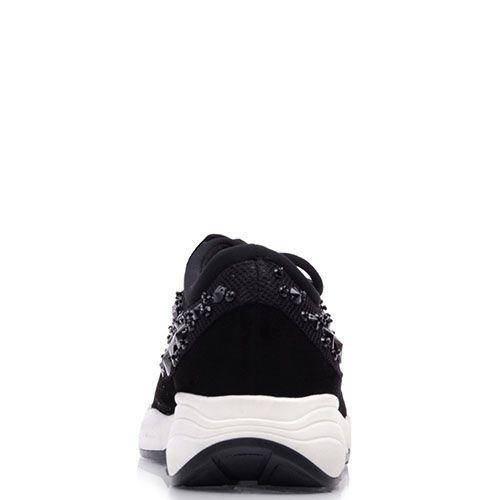 Кроссовки Prego из черной замши и текстиля со стразами разного размера, фото