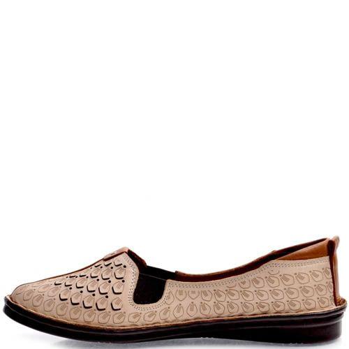 Балетки Prego бежевые с декоративным коричневым швом вдоль носка, фото