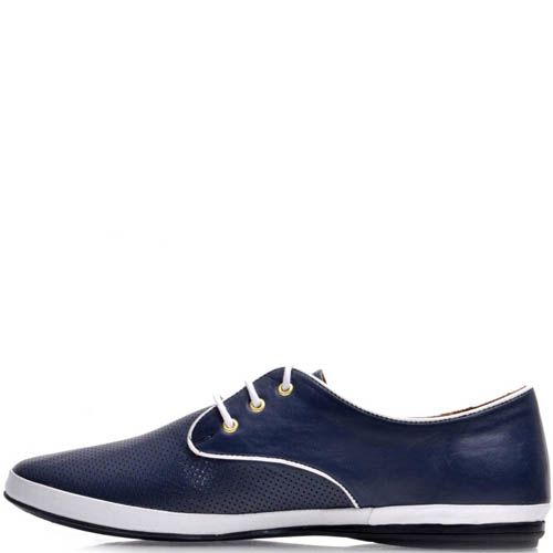 Туфли Prego женские спортивные синего цвета с белой окантовкой, фото