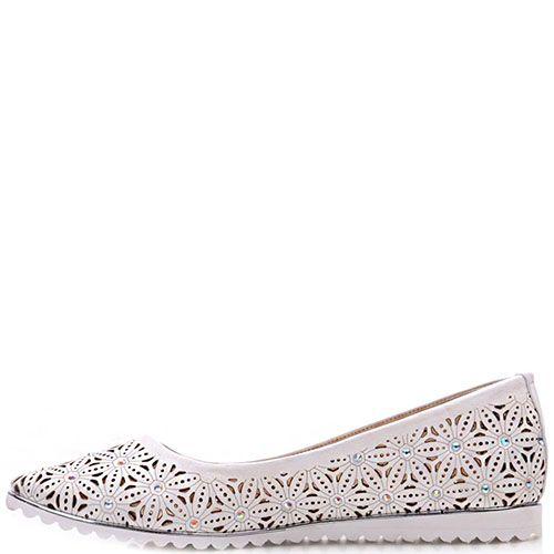 Туфли-лодочки Prego из натуральной кожи белого цвета, фото
