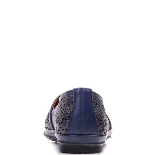 Туфли Prego из натуральной кожи синего цвета на низком каблуке, фото