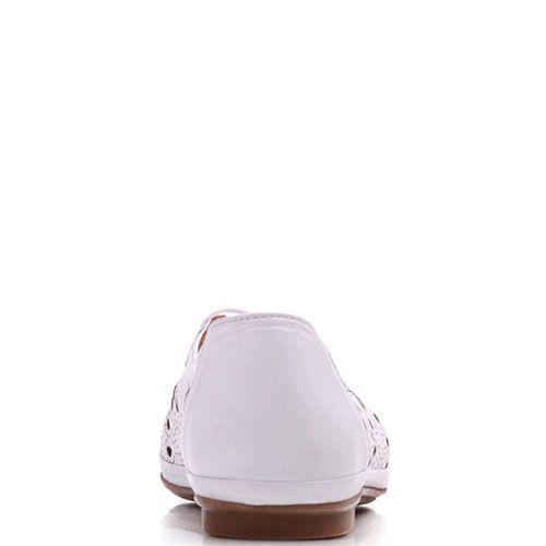 Туфли Prego из натуральной белой кожи с перфорацией, фото