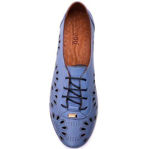 Туфли на шнуровке Prego из натуральной матовой кожи синего цвета с перфорацией, фото