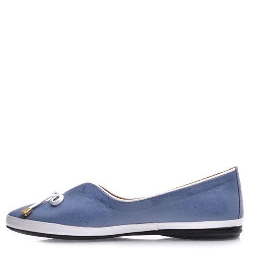 Женские туфли Prego из натуральной кожи голубого цвета с белым декором, фото