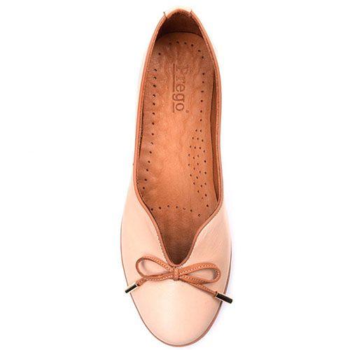 Кожаные туфли-лодочки Prego бежево-коричневые с бантиком, фото