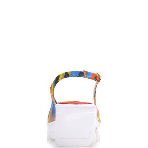 Босоножки Prego из кожи в разноцветную полоску с открытым носочком, фото