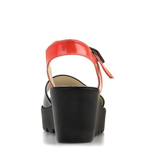 Сандалии Prego из натуральной кожи красного и черного цвета, фото