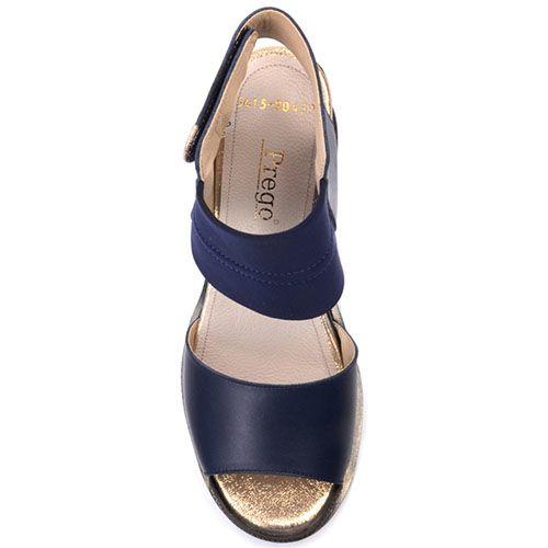 Кожаные босоножки Prego синего цвета с золотистыми линиями у подошвы, фото