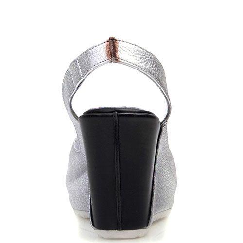 Босоножки Prego из серебристой и черной кожи с открытым носочком, фото