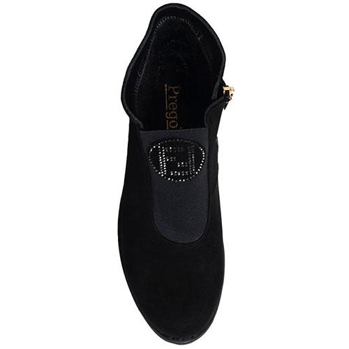 Ботинки из замши Prego черного цвета декорированные стразами, фото