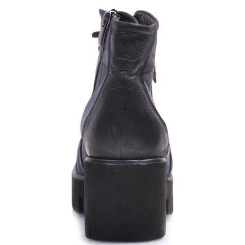 Ботинки Prego из синего и черного нубука на толстом каблуке, фото