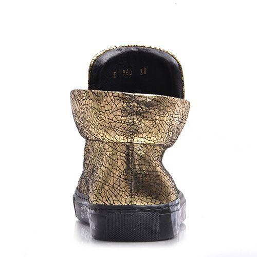 Золотистые слипоны Prego из натуральной кожи с принтом Кракелюры, фото
