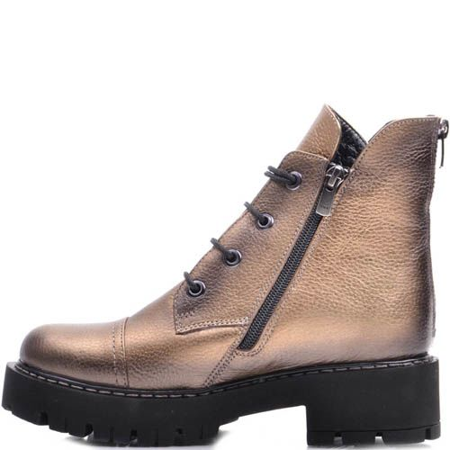 Ботинки Prego зимние бронзового оттенка на шнуровке, фото