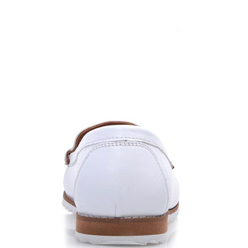 Кожаные мокасины Prego с перфорацией белого цвета, фото