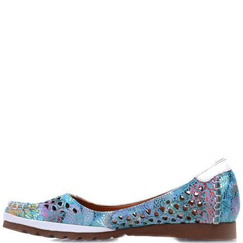Кожаные туфли Prego бирюзового цвета с перфорацией и коричневой подошвой, фото