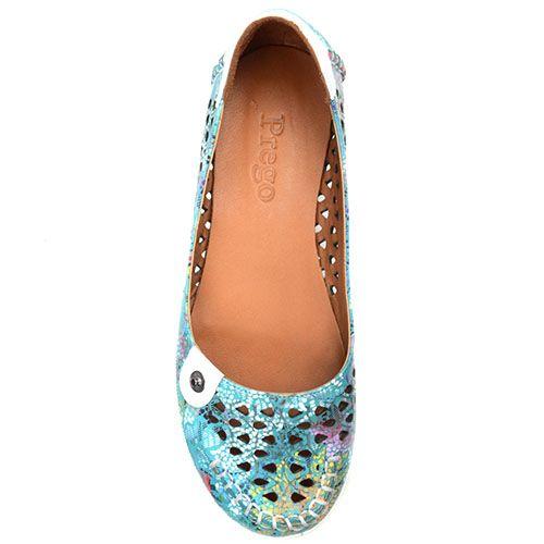 Туфли Prego из кожи бирюзового цвета с перфорацией и коричневой подошвой, фото