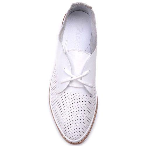 Туфли Prego из кожи белого цвета с мелкой перфорацией, фото