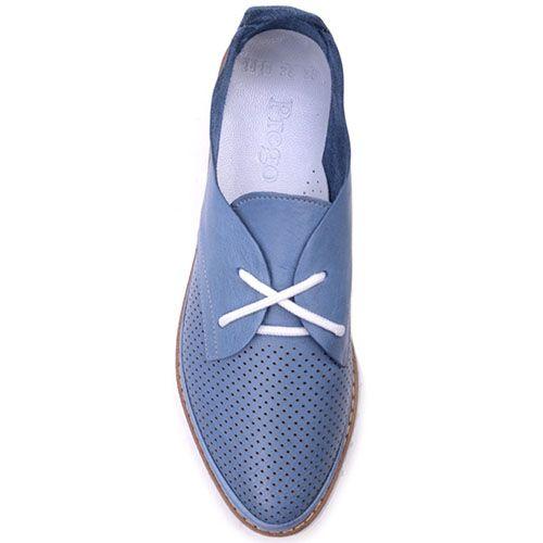 Туфли Prego из матовой кожи голубого цвета с мелкой перфорацией, фото