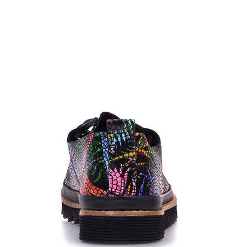 Туфли Prego из фактурной кожи с ярким принтом, фото